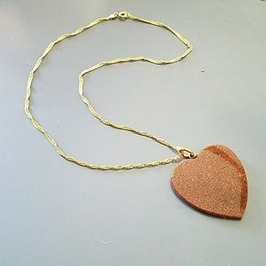 Vintage Jewelry - Vintage goldstone heart pendant with